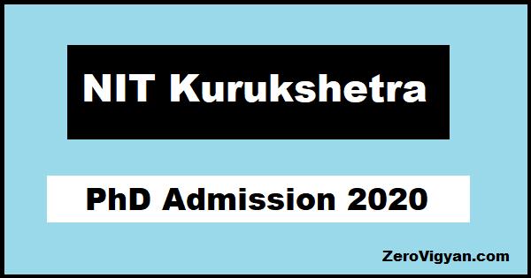 NIT Kurukshetra PhD Admission