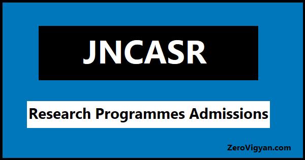 JNCASR Admissions 2021