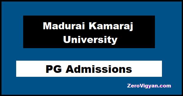 Madurai Kamaraj University PG Admissions