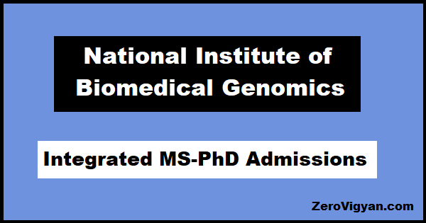 NIBMG Integrated MS-PhD Admissions