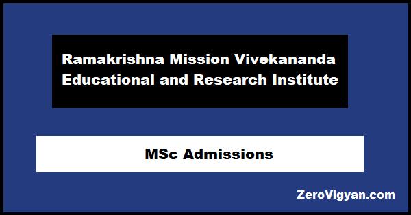 RKMVERI MSc Admissions