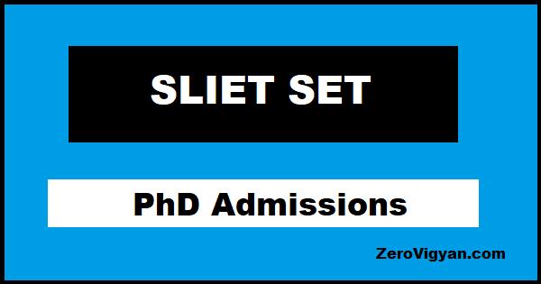 SLIET PhD Admissions