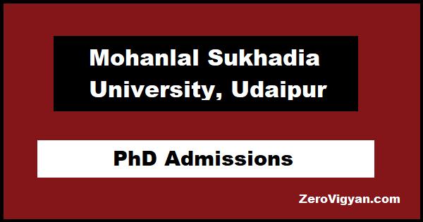 MLSU Udaipur PhD Admissions