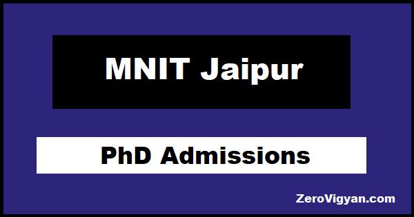 MNIT Jaipur PhD Admissions