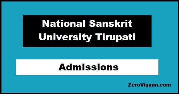 National Sanskrit University Tirupati Admissions