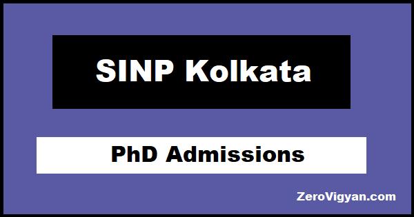 SINP Kolkata PhD Admissions