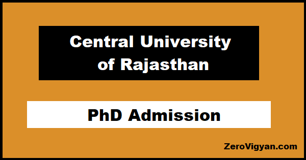Central University of Rajasthan PhD Admission