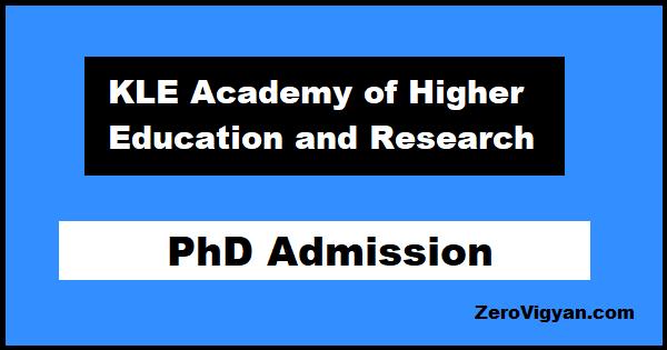 KLE University PhD Admission