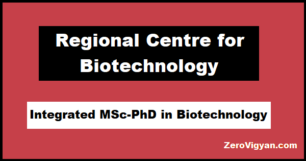 RCB Integrated MSc-PhD Biotechnology Admission