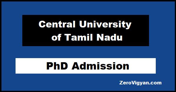 Central University of Tamil Nadu PhD Admission